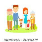 big family cartooning vector ... | Shutterstock .eps vector #707196679