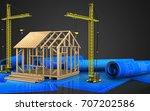 3d illustration of frame house... | Shutterstock . vector #707202586