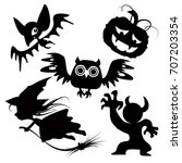 halloween cute vector... | Shutterstock .eps vector #707203354