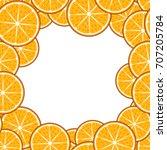 fruit frame. pattern  orange... | Shutterstock . vector #707205784