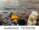 forest harvest  blueberry ...   Shutterstock . vector #707209108