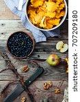 forest harvest  blueberry ... | Shutterstock . vector #707209180