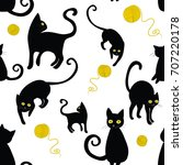 black cats silhouettes seamless ... | Shutterstock .eps vector #707220178