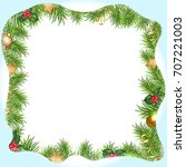 christmas border with... | Shutterstock .eps vector #707221003
