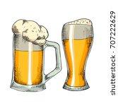 sketched beer engraved in ink...   Shutterstock .eps vector #707222629