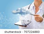 doctor downloads the... | Shutterstock . vector #707226883