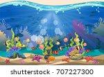 the beauty of underwater life... | Shutterstock .eps vector #707227300
