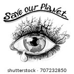 save our planet watercolor eco... | Shutterstock . vector #707232850