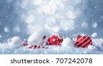 Winter Decorations On Snow...