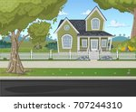 colorful house in suburb... | Shutterstock .eps vector #707244310