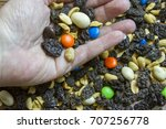 open palm of hand holdng trail...   Shutterstock . vector #707256778