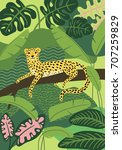 illustration with cute leopard... | Shutterstock .eps vector #707259829