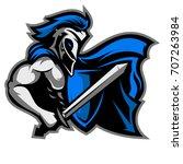 knight mascot logo for sport... | Shutterstock .eps vector #707263984