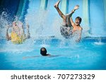 young people having fun on... | Shutterstock . vector #707273329