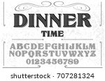 vintage font alphabet... | Shutterstock .eps vector #707281324