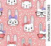 Stock vector seamless pattern with cute rabbit baby girl 707291383