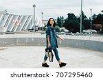 grunge young girl. hipster.... | Shutterstock . vector #707295460
