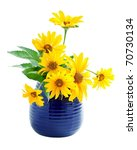 yellow flowers in a vase isolated on white. - stock photo