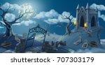cemetery  halloween background. ... | Shutterstock .eps vector #707303179