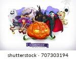 happy halloween. pumpkin ... | Shutterstock .eps vector #707303194
