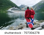 sea cruise in norway. couple of ... | Shutterstock . vector #707306278