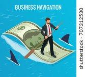 isometric business navigation...   Shutterstock .eps vector #707312530