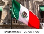 Mexican Flag Waving In Front O...