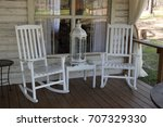 white rocking chairs on florida ... | Shutterstock . vector #707329330