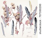 collection of fashion feathers... | Shutterstock .eps vector #707330200