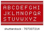 christmas knitted font. knitted ... | Shutterstock .eps vector #707337214