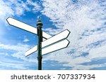 steel signpost arrows shape... | Shutterstock . vector #707337934