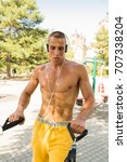 fit man exercising at the park  ...   Shutterstock . vector #707338204