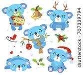 vector cartoon blue koala... | Shutterstock .eps vector #707339794