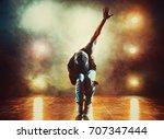 young man break dancing in club ...   Shutterstock . vector #707347444