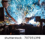 welding robots movement in a... | Shutterstock . vector #707351398