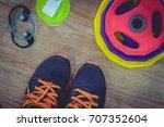 weight  headphones   bottle ... | Shutterstock . vector #707352604