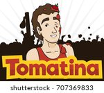 poster with young man covered...   Shutterstock .eps vector #707369833