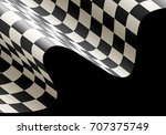 checkered flag wave flying on... | Shutterstock .eps vector #707375749