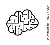 thin line brain icon | Shutterstock .eps vector #707377204