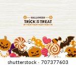 halloween sweets vector frame | Shutterstock .eps vector #707377603