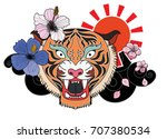 colorful traditional tattoo... | Shutterstock .eps vector #707380534