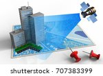 3d illustration of blue map... | Shutterstock . vector #707383399