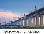 construction of bridge and... | Shutterstock . vector #707399866