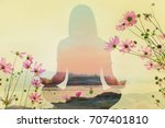 Small photo of Double exposure of yoga pose on river with cosmos flower field on sky background, orange sunrise, find peace of life concept
