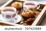 breakfast   cake and cup of tea ... | Shutterstock . vector #707415889