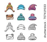 sketch and colorful winter hat... | Shutterstock .eps vector #707419333