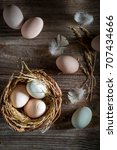 fresh and ecological eggs from... | Shutterstock . vector #707434666