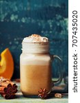 hot pumpkin spiced latte or... | Shutterstock . vector #707435020
