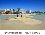 famous nissi beach  ayia napa ... | Shutterstock . vector #707442919