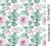 seamless watercolor pink roses... | Shutterstock . vector #707448673